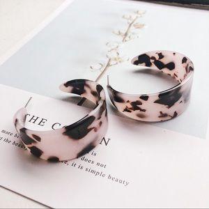 Resin Light Tortoise Shell Half Hoop Earrings